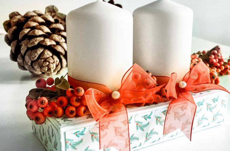 portacandele di cartoncino tra le idee per decorazioni natalizie fai da te